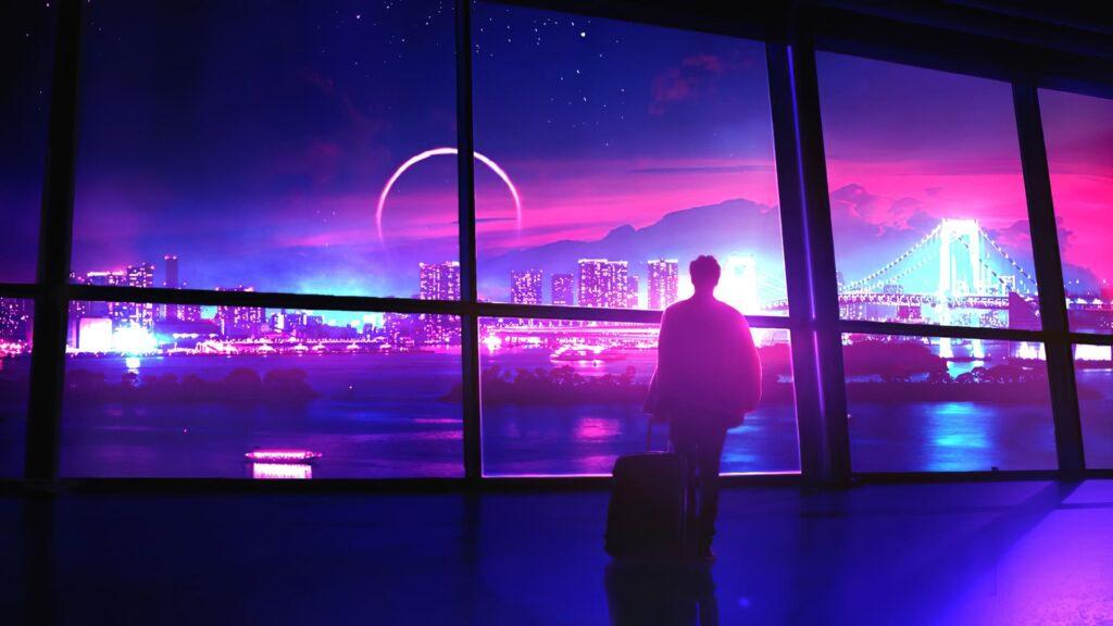 neon computer background